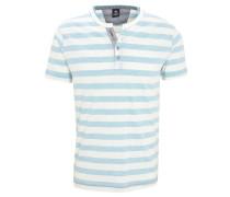 T-Shirt, gestreift, Henley-Ausschnitt, Ziernaht