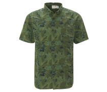 Freizeithemd, Kurzarm, Tropical Design, Button-Down-Kragen
