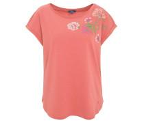 T-Shirt, Flammgarn, überschnittene Ärmel, Blumen-Print