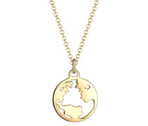 Halskette Weltkugel Globus Wanderlust Reisen 925 Silber