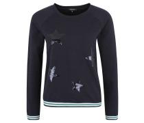 Sweatshirt, Pailletten-Sterne, Streifen-Bündchen