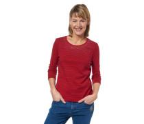 Shirt, Bio-Baumwolle, 3/4-Arm, gestreift, Strass-Besatz