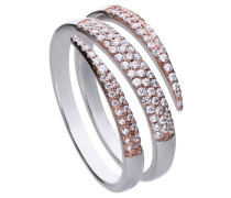 Ring bicolor mit weißen Zirkonia-Steinen und offener Ringschiene 6119861082180