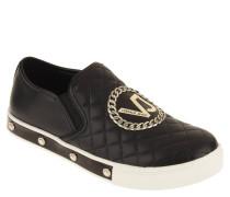 Sneaker, Leder, Stepp-Optik, Logo-Emblem