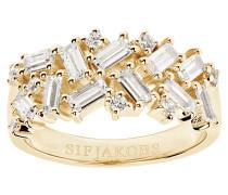 Antella Ring Sterling Silber 925 SJ-R0463-CZ(YG)/54