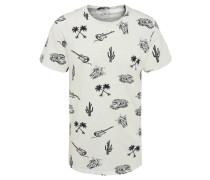 T-Shirt, Allover-Print, Rollsaum, Flammgarn