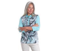 Polo-Shirt, Pima-Baumwolle, florales Muster, Strass, Polo-Kragen