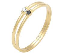 Ring Solitär Schwarz Weiss Diamant (0.04 Ct.) Gelb