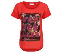 T-Shirt, Front-Print, Strass, Ärmel-Umschläge
