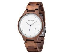 """Armbanduhr """"Lamprecht Walnuss Date Silber"""", Holz"""