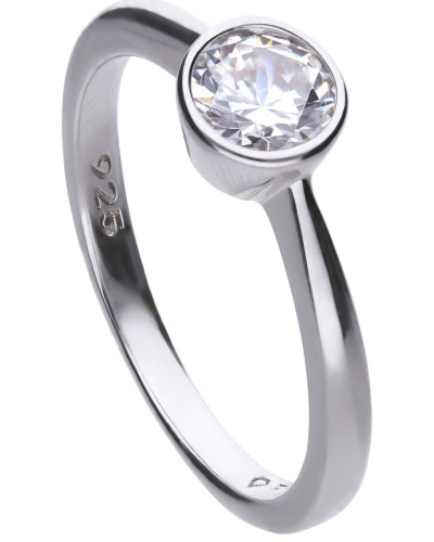 Solitär-Ring  mit weißem -Zirkonia und Zargen-Fassung 6118121582180