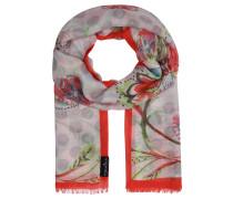 Schal, Blumen-Print, fransiger Saum