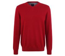 Pullover, Baumwolle, Feinstrick, V-Ausschnitt, Struktur-Details