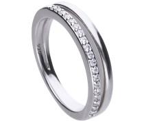 Doppelreihiger Ring  mit weißen Zirkonia-Steinen und Pavé-Besatz 6119241082180