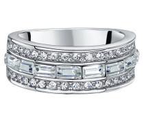 Ring rhodiniert mit Kristallen Messing rhodiniert grau 430070058