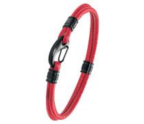 Herren Leder-Armband rot IP BLACK