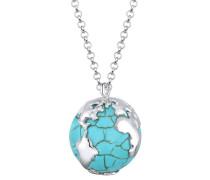 Halskette Globus Weltkugel Travel Howlit 925 Sterling Silber