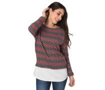 Sweatshirt, Strick, Hemd-Optik, Struktur-Muster, Stoffsaum