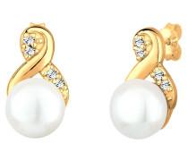 Ohrringe Infinity Perle Swarovski® Kristalle 925 Silber Lié