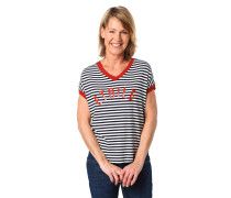 T-Shirt, gestreift, glitzernde Lochstrick-Details, Schrift-Print