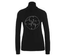 Pullover, Stehkragen, Schmucksteine, Logo-Print