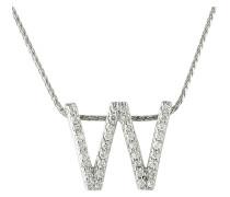"""Kette mit Anhänger """"W"""", 375 gold mit Diamanten, zus. ca. 0"""