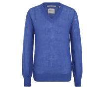 Pullover, Grobstrick, Transparenz, Rippbündchen, V-Ausschnitt