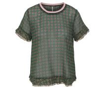 Blusenshirt, Lagen-Look, Allover-Print, Kontraststreifen