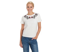 T-Shirt, florale Stickerei, Baumwolle
