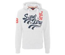 Sweatshirt, 3D-Logo-Print, meliert, Kapuze