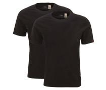 T-Shirt, 2er-Pack, uni, Rundhalsausschnitt, Baumwolle