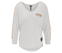 Shirt, 3/4-Arm, Galonstreifen, Pailletten, Brusttasche