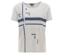 T-Shirt, geometrisches Muster, runder Saum, Baumwollmix