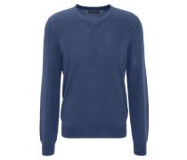 Pullover, Woll-Anteil, V-Ausschnitt, Feinstrick, Rippbund