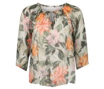 Blusenshirt, Tropical Print, doppellagig, Raffung, Große Größen
