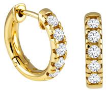 Creolen 585 Gelb mit 10 Diamanten, zus. ca. 0