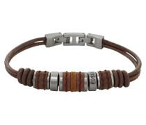 Herren-Armband Leder  mit Edelstahl JF00900797