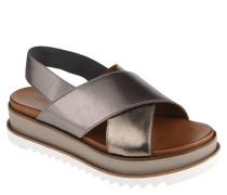 Sandaletten, Metallic-Look, elastische Riemen, Plateausohle
