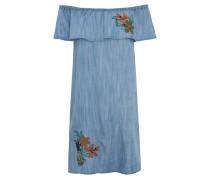 Minikleid, Carmen-Ausschnitt, Volant, Blumen-Stickerei
