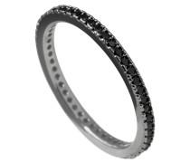 Ring geschwärzt mit schwarzen Zirkonia-Steinen ct 0