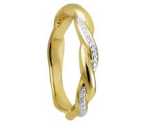 Ring Gelb 375 mit 33 Diamanten, zus. ca. 0,07 ct.