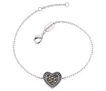 Armband Heart mit 11 Markasit, 925er-Sterling oxidiert, 12,5 mm