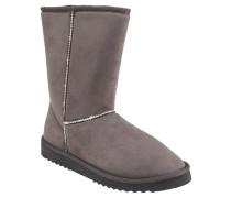 Boots, Velours-Optik, griffige Laufsohle, Ziernähte