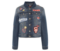Jeansjacke, Patches, Used Look