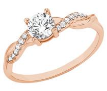 Damen-Ring mit Zirkonia rosévergoldet
