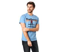 T-Shirt, Marken-Schriftzug, Print, gerippter Rundhalsausschnitt
