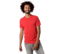 T-Shirt, Baumwolle, Logo-Stickerei, Rippblende