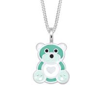 Halskette Kinder Teddybär Herz Emaille 925