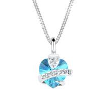 Halskette Herz Swarovski® Kristalle 925 Silber