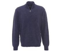 Pullover, meliert, Strick-Optik, Klappkragen, Baumwollmix
